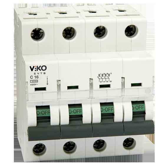 Автоматический выключатель VIKO, 4P, 4A, 4,5kA купить недорого в